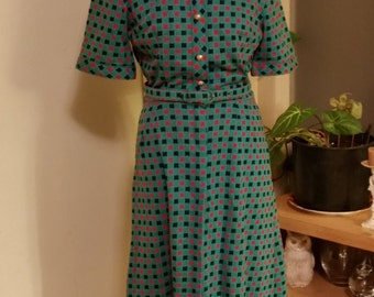 Vintage Shirt Dress Almost Harlequin Mid Century Dress