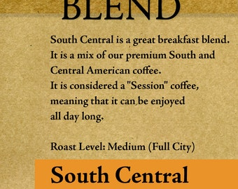 """Roasted Coffee - South-Central Breakfast Blend 4oz-5lb """"Roasted upon Order"""" RöstHaus Coffee Roasterie"""
