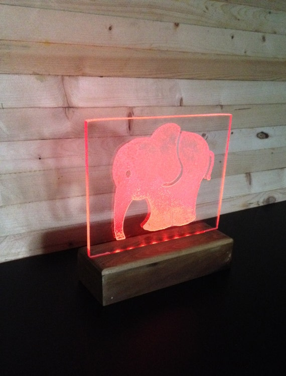 Small Baby Elephant Multicolor Led Etched Ornament Nursery