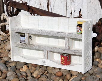 Shabby Chic Reclaimed Up cycled Wooden Shelving with driftwood and ammonite detail