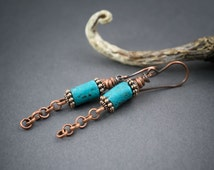 Rustic Tribal Turquoise Earrings • Moroccan Ceramic Beads • Rough Terracotta • Small Earrings • Copper Chain • Raw Copper • Boho • Artisan