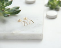 Gold Filled V Earrings, Mountain Top, Simple