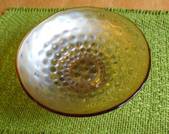Marigold Fenton Carnival Glass Bowl in Coin Dot Pattern