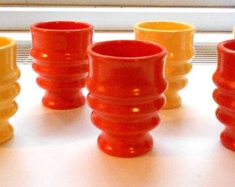 Set of 6 Vintage Orange and Yellow Metlox Poppytrail Tumblers, Juice Cups