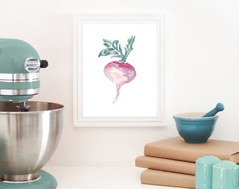 Turnip Print, Vegetable Watercolor, Kitchen Art, Garden Art, Vegetable Painting, Decor, Food Illustration, Vegan