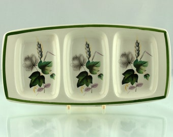 """Vintage Green 1950s Palissy """"Shadow Rose"""" Serving Dish"""