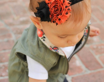 Halloween Headband, Baby Headband, Halloween Baby Headband, Orange and Black Headband, Halloween Baby, Toddler Headband, Halloween Bow