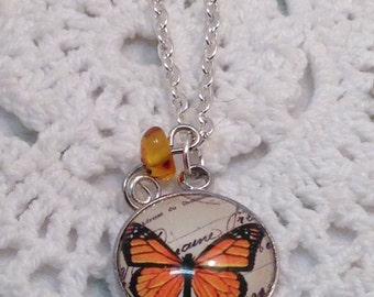 Monarch Butterfly Necklace, Altered Art Necklace, Butterfly Jewellery, Handmade Gemstone Necklace