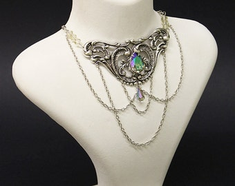 Fantasy Gothic necklace - Silver plated Elfic choker with filigree and Paradise shine Swarovski crystals - Victorian Gothic Jewelry
