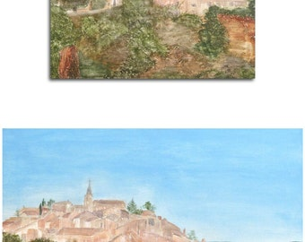 Painting Roussillon France Provence canvas large 60 x 50 x 1,5 cm acrylic painting