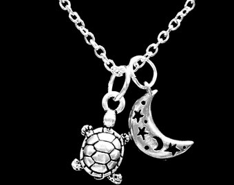 Turtle Sea Crescent Moon Celestial Ocean Beach Nautical Charm Gift Necklace