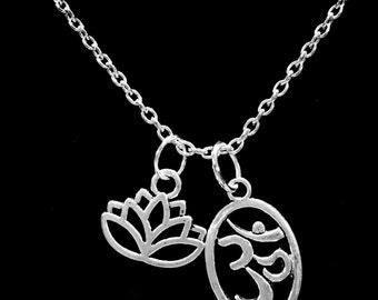 Ohm Lotus Flower Aum Om Hindu Buddha Life Karma Peace Yoga Necklace