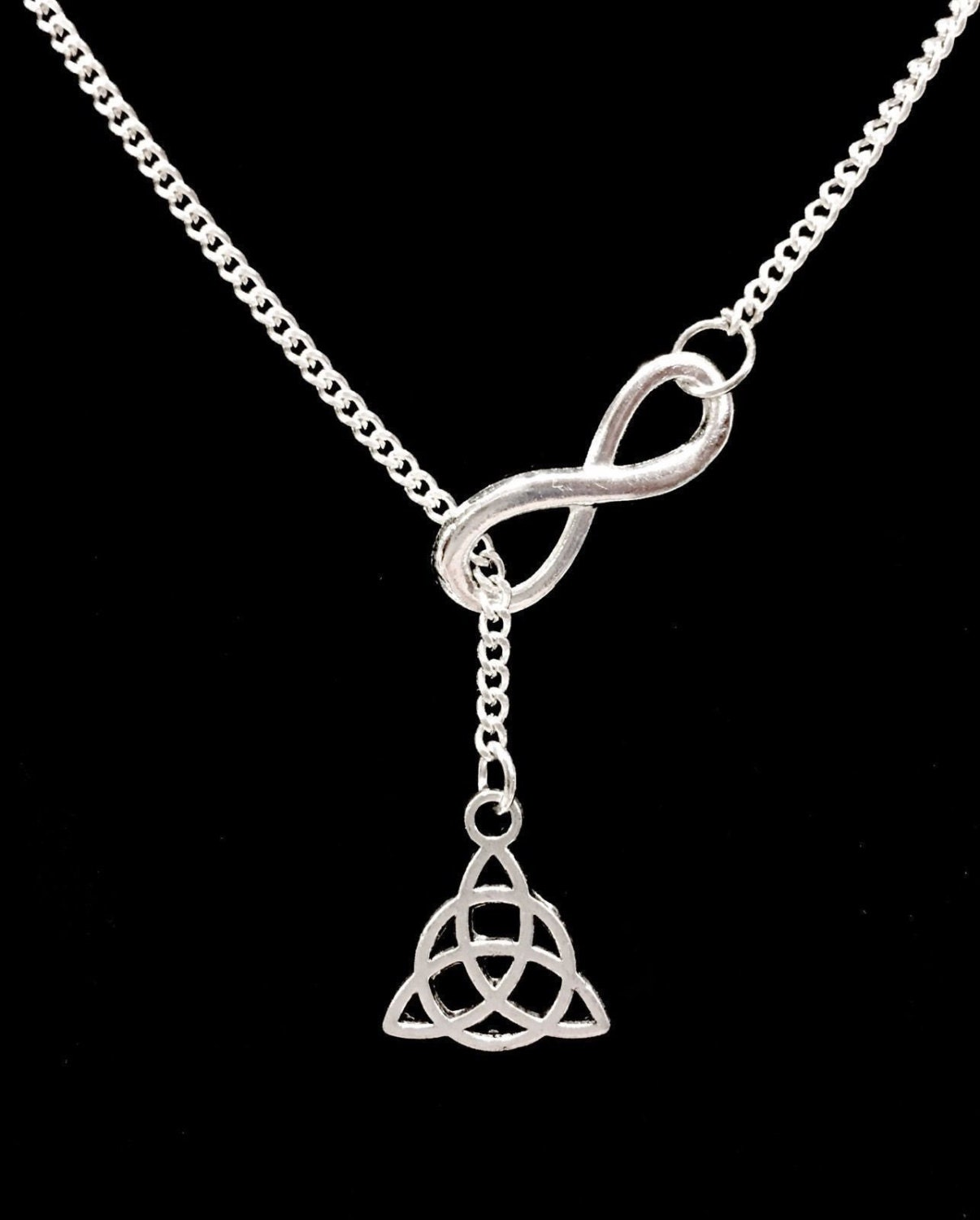 infinity celtic knot triquetra y lariat necklace. Black Bedroom Furniture Sets. Home Design Ideas