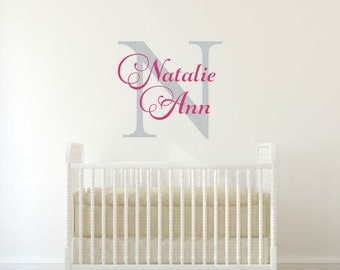 Girls Name Wall Decal Personalized Name Decal Baby Girl Name Wall Decal Name Decal Girl Name Vinyl Decal Fancy Name Wall Decal Vinyl Initial