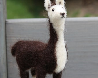Needle Felted Standing Brown and White Llama