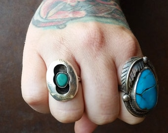 Native American Royston Turquoise + Sterling Silver Ring Size 9