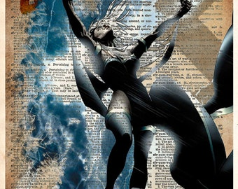 Storm Xmen art, SuperHero, Book page art, Storm art print