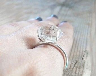 Raw herkimer diamond and sterling silver solitaire cocktail ring, Big Rough Quartz crystal ring, Organic handmade jewelry