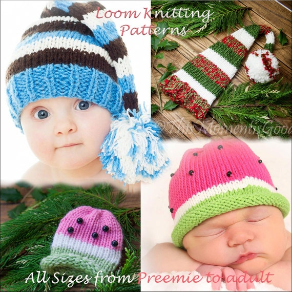 Knitting Loom Hat Stitches : Loom Knit Elf & Watermelon Hat PATTERNS. 2 Hat PATTERNS in All