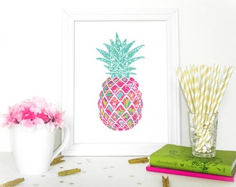 preppy pineapple home decor lilly pulitzer inspired printable - Preppy Home Decor