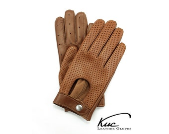 Beautiful brown/ginger leather gloves,  driving gloves -  soft and durable Italian leather, perforated leather