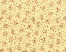 Cottage Chic Fabric, 3 Sisters Favorites Moda 3707 14 Lemon, Yellow Floral Fabric, Pink & Yellow Flower Fabric, Baby Girl Quilt Fabric