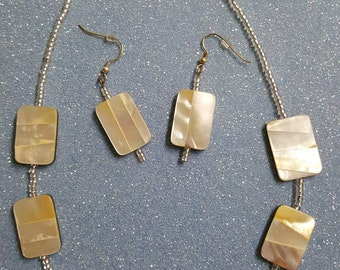 Mother of Pearl Beaded Necklace and Earring Set 97