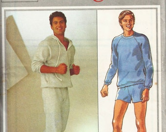 1980s Trackpants Shorts Pullover Sweater Jacket Sports Hooded Jumper Drawstring Style 3586 Chest 38 Men's Vintage Sewing Pattern UNCUT