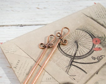 Hair sticks Unique hair pin Hair accessories Hair jewelry Hair fork Handmade hair stick Gift long hair Organic jewelry Magic Wand Copper Eco