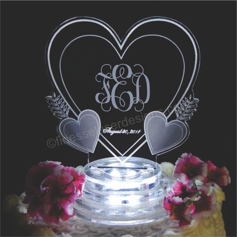 Vine Monogram Triple Heart Lighted Wedding Cake Topper Acrylic