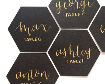 set of 10 hexagon calligraphy escort cards | place cards | seating assignments