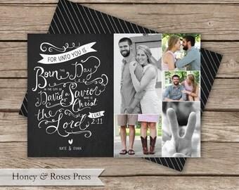 Chalkboard Christmas Card  .  Multiple Photo Christmas Card  .  Family Photo Holiday Card  .  Digital File  .  Printable Card