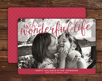 Photo Christmas Card Holiday Cards Photo Cards Picture Holiday Card Custom Personalized Christmas Card Modern CD035