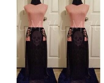 Black long slit skirt