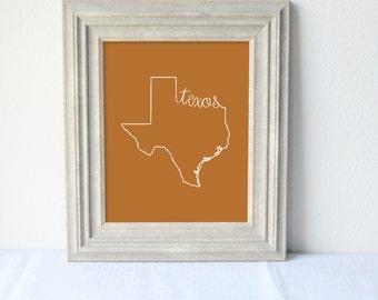 Printable Texas State Art Print 8x10 Digital Wall Art Gift