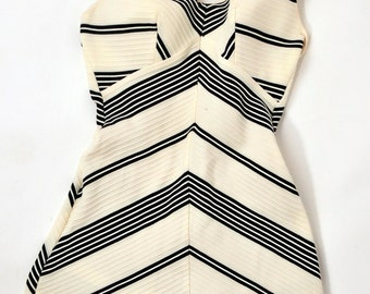 Vintage black and off white 1960s/1970s one piece swimsuit Rose Marie Reid small size //Pin up// Rockabilly