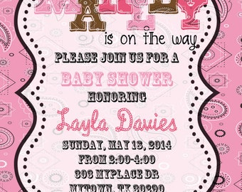 5x7 or 4x6 PERSONALIZED Cowgirl Shower Invitation- Baby Shower Invitation