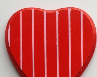Hand Painted Wood Red Heart With Pink Stripes