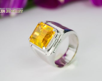 Huge signet square citrine silver ring, free shipping