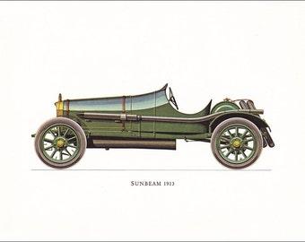 Sunbeam 1913 veteran racing car motoring green vintage British car print illustration home office décor boy's nursery 9.5 x 7 inches