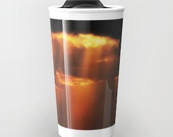 "Ceramic Travel Mug, Travel Coffee Mug, Black Coffee Cup, ""Creation"" Ceramic Mug, To Go Mugs, To Go Coffee Cup with Lid, Car Mug"