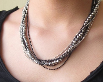 Multilayer Necklace - Layered Necklace - Strand Necklace - Beaded Necklace - Black And Silver Necklace - Statement Necklace