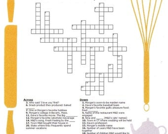 Happy Couple Crossword Puzzle - Wedding Shower Games (set of 25) (Bridal Shower, Party Games, etc.)
