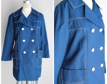 Vintage 1970s Blue Rain Jacket / Bonders Cotton Duck Jacket / Double Breasted Rain Coat / 70s Outerwear / Outer Wear / Weather Resistant