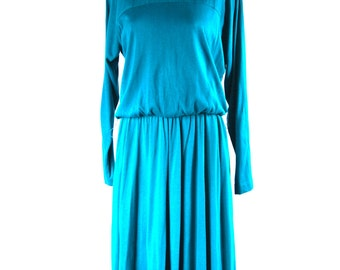 Vintage Dress Jessica Howard By Mitchell Rodbell Made in USA Elastic Waist