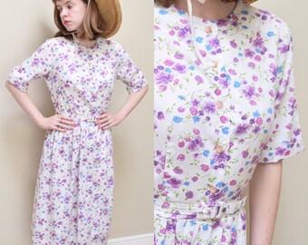 50s 60s Floral Shirtwaist Dress // S M