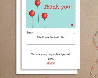 Fill-in Thank You Notes - Balloons Flat Notes - Childrens Thank You Cards- Illustrated Note Cards