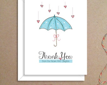 Shower Umbrella Note Cards - Bridal Shower Folded Note Cards - Bridal Stationery - Bridal Shower Thank You Notes - Illustrated Note Cards