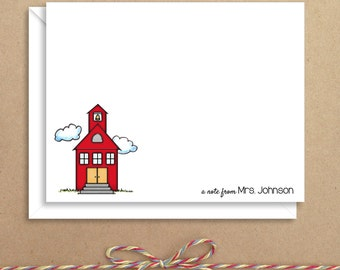 Flat Note Cards - School House Flat Notes - Flat Thank You Cards- Illustrated Note Cards - Teacher Note Cards