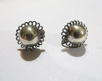 Vintage Sterling Silver Screw Back Earrings